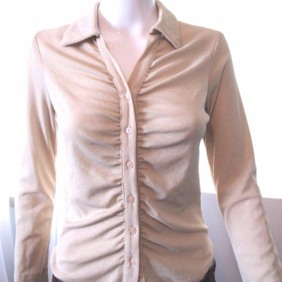Womens Blouse Top Size S New Ladies Pearl Beige Shimmer Gathered Cowl Nck